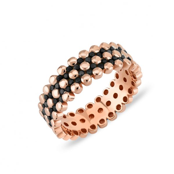 Bubbles Black Rose Ring - High Street Jewelry