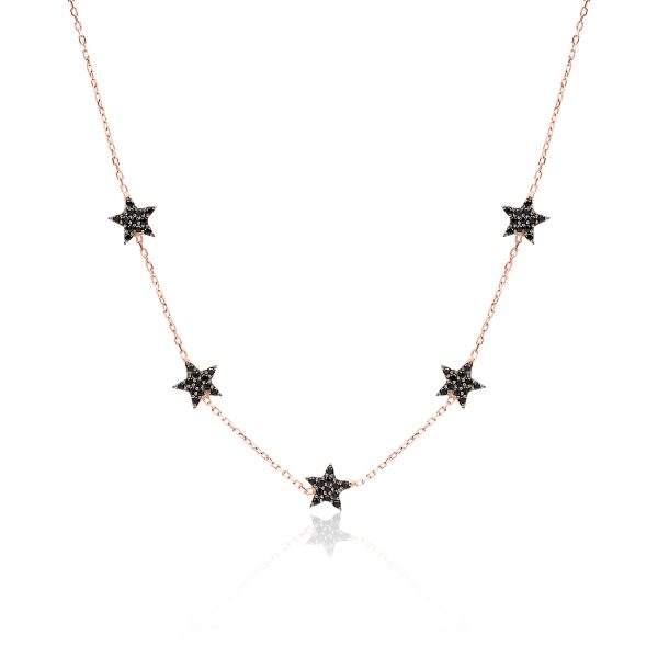 Five Stars Rose Black Necklace - High Street Jewelry