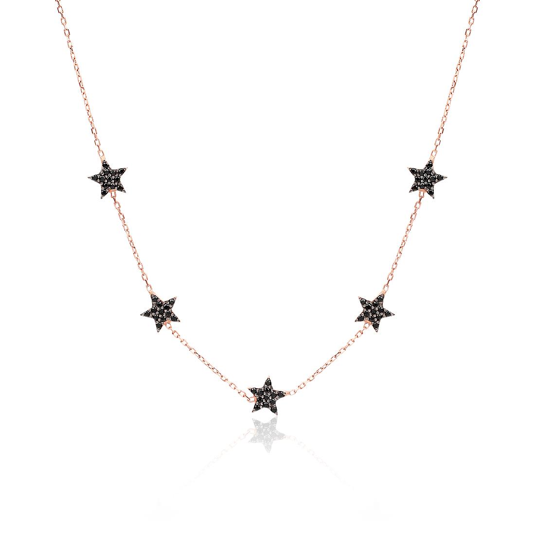 Five Stars Rose Black Necklace - High Street Jewelry