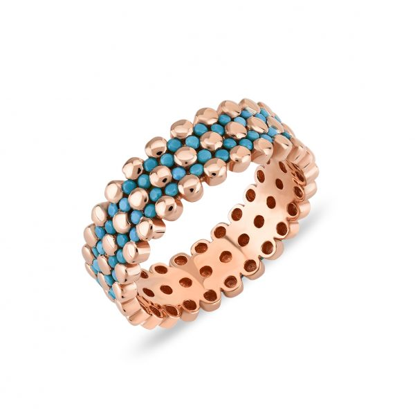 Bubbles Turquiose Rose Ring - High Street Jewelry