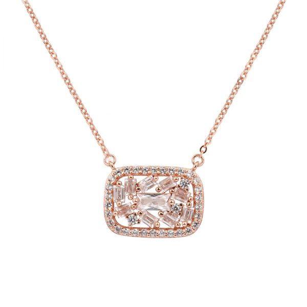 Baguette Filling Rose Necklace - High Street Jewelry