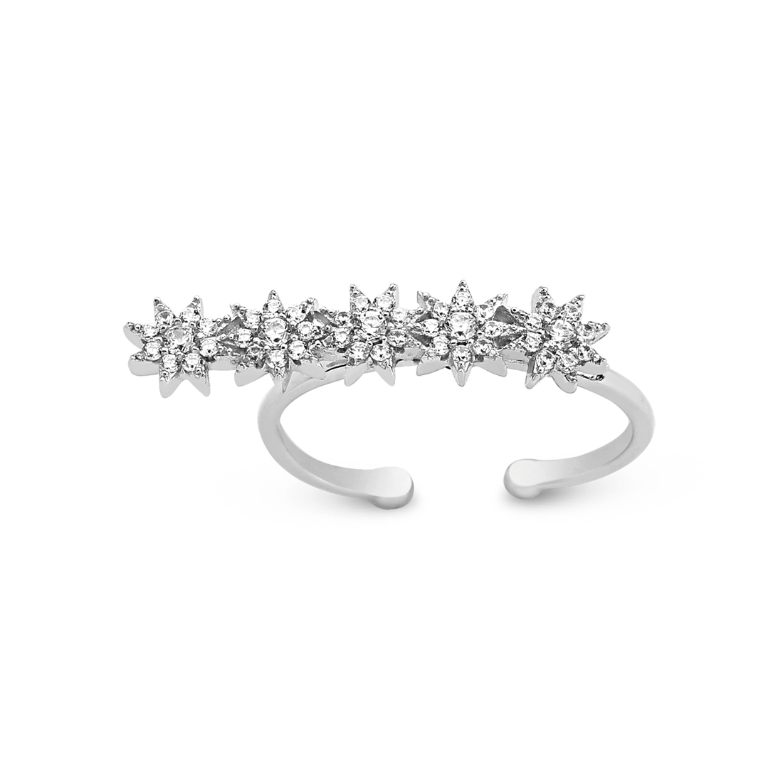 Linear Stars Silver Ring - High Street Jewelry