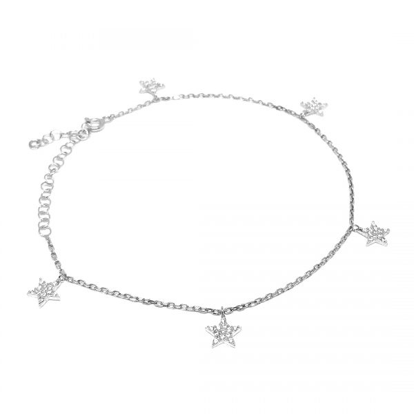 Stars Anklet Silver - High Street Jewelry